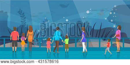 People Watching Underwater Scenery With Sea Animals In Oceanarium. Underwater Fauna With Fish, Seawe