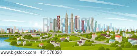 Simple Flat Style Illustration Of Kuala Lumpur City In Malaysia And Skyline Landmarks. Panorama City
