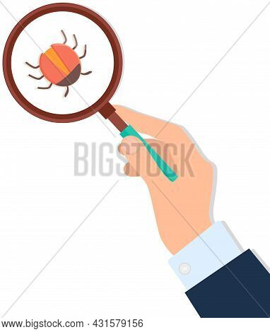Computer Bug In Magnifying Glass In Human Hand. Sign For Mobile Concept And Web Design. Software Vir