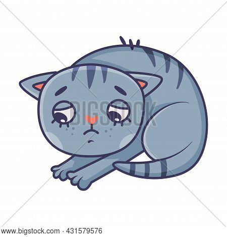 Funny Blue Cat With Striped Tail Having Guilty Look Bending Head Vector Illustration