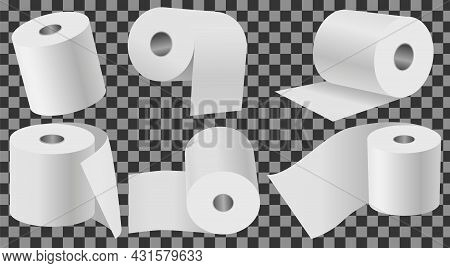 Toilet Paper Set Flat Vector Illustration. Special Paper For Wiping. Paper Product Is Used For Sanit