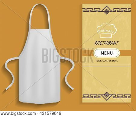 White Apron Next To Piece Of Paper With Menu. Clothes For Work In Kitchen, Protective Element Of Clo
