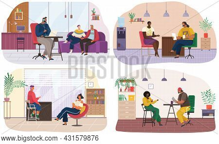 Set Of Illustrations About Interviewing, Live Communication In Studio. Characters Work At Radio Stat