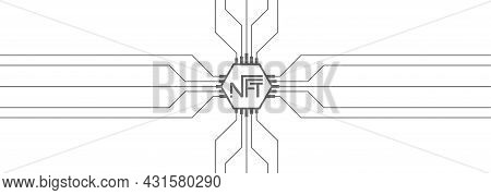 Nft Token Template On A White Background. Cryptocurrency For The Purchase Of Crypto Art. Scalable Ve