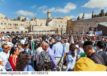 JERUSALEM, ISRAEL - NOVEMBER 16, 2011:  The Western Wall - a place of faith and pilgrimage for Jews around the world. Great religious Jewish holiday.