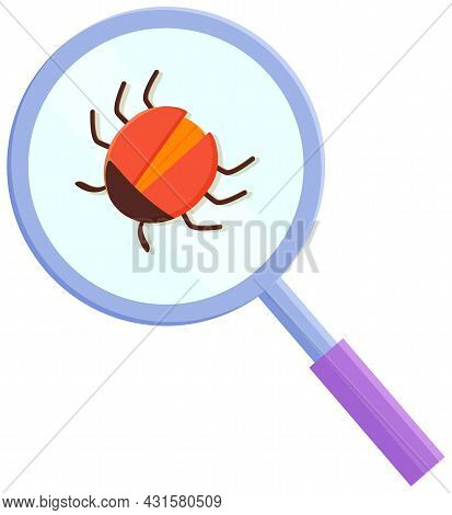 Computer Bug In Magnifying Glass. Sign For Mobile Concept And Web Design. Software Virus Simple Logo