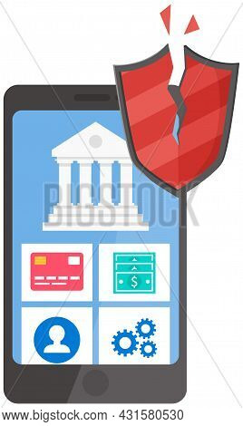 Smartphone Security, Protect Your Digital Gadget Concept. Mobile Phone And Shield. Antivirus Softwar
