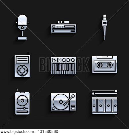 Set Music Synthesizer, Vinyl Player With A Vinyl Disk, Drum Drum Sticks, Retro Audio Cassette Tape,