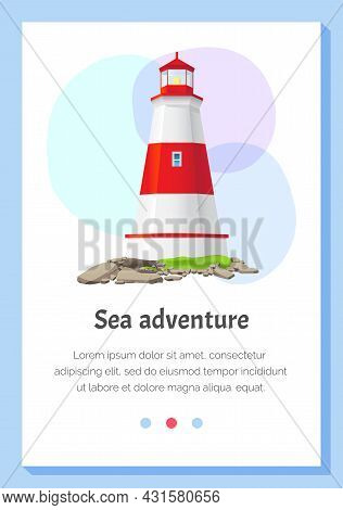 Big Red And White Lighthouse Standing On Stones Isolated. Large Construction Of Water Coast Nautical