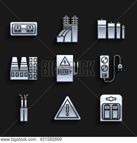 Set Electrical Panel, Exclamation Mark In Triangle, Battery Pack, Extension Cord, Cable, Power Stati