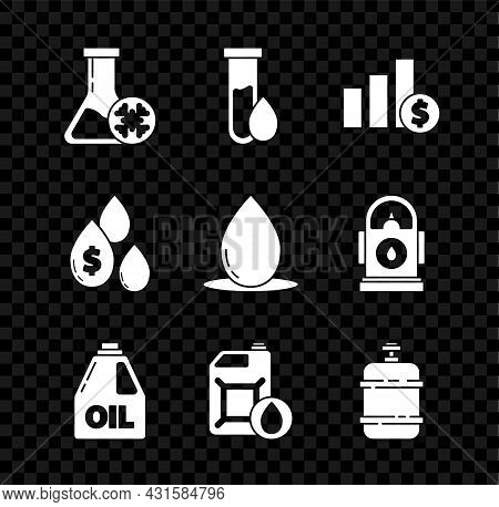 Set Antifreeze Test Tube, Oil Petrol, Pie Chart Infographic And Dollar, Canister For Motor Machine O