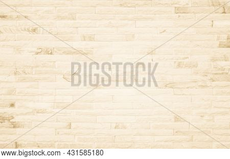 Empty Background Of Wide Cream Brick Wall Texture. Beige Old Brown Brick Wall Concrete Or Stone Text
