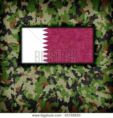 Amy camouflage uniform with flag on it Qatar poster