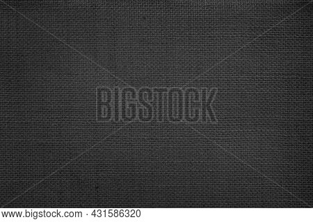 Jute Hessian Sackcloth Canvas Woven Texture Pattern Background In Light Black Color Blank Empty. Dar