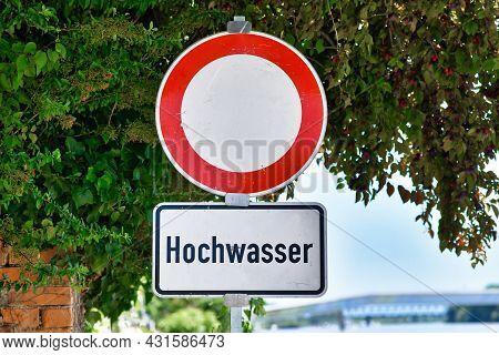 Water Flood Sign At German Rhine River Saying 'hochwasser', Meaining 'water Flood'