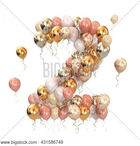Baloon bunch in form of number 2 two isolated on white. Text letter for age, holiday, birthday, celebration. 3d illustration
