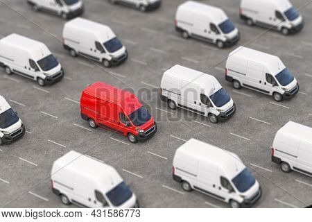 Red delivery van in a rows of white vans. Best express delivery and shipemt service concept. 3d illustration