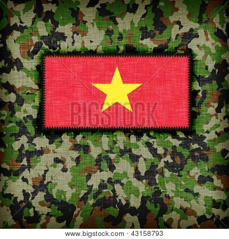 Amy camouflage uniform with flag on it Vietnam poster
