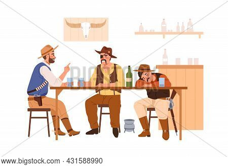 Wild Western Cowboys Drinking In Bar. Men In Hats Resting, Talking And Sleeping At Wood Table In Tav