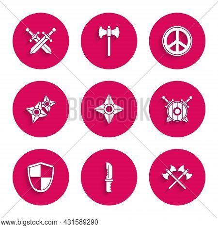 Set Japanese Ninja Shuriken, Military Knife, Crossed Medieval Axes, Wooden Shield With Crossed Sword