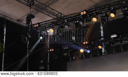 Colorful Bright Concert Lighting Equipment For Stage At Nightclub, Illumination Of Entertainment Mus