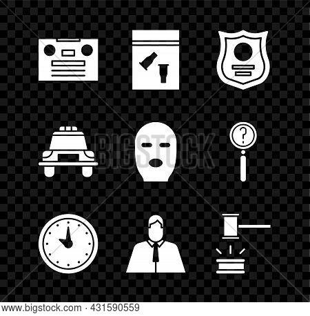 Set Retro Audio Cassette Tape, Evidence Bag And Bullet, Police Badge, Clock, Lawyer, Attorney, Juris