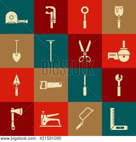 Set Corner Ruler, Adjustable Wrench, Angle Grinder, Wrench Spanner, Metallic Nail, Shovel, Roulette