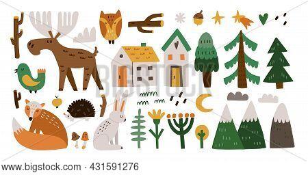 Forest Animals. Hand Drawn Cartoon Scandinavian Style Set, Cute Scandi Elk And Fox, Bird And Hare. T