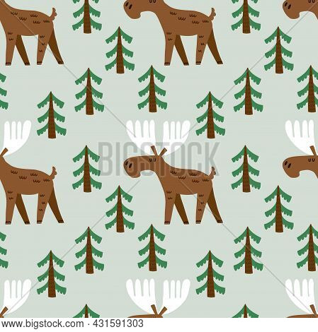 Elk Seamless Pattern. Hand Drawn Cartoon Scandinavian Forest Animal Cute Scandi Illustration, Kids C