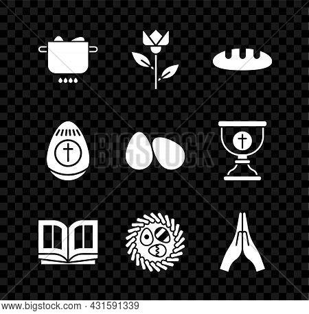 Set Egg In Hot Pot, Flower Tulip, Bread Loaf, Holy Bible Book, Easter Egg Wicker Nest, Hands Praying