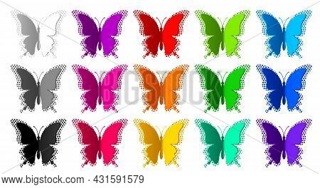 Set Of Fifteen Colored Paper Butterflies With Radial Halftone Isolated On White Background. Silhouet