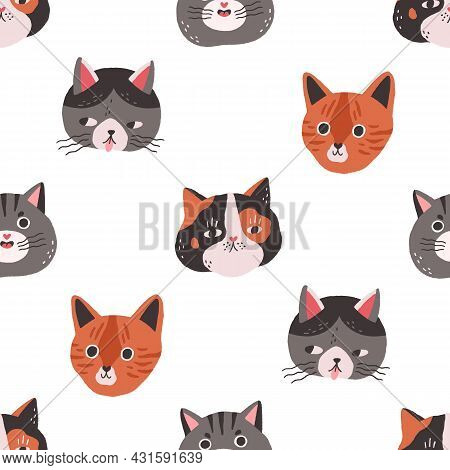 Seamless Pattern With Cute Cats Faces On White Background. Repeating Feline Texture With Funny Kitte
