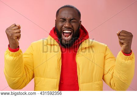 Handsome African-american Man Encouraging Himself Put Will Effort Clenched Arms Yelling Close Eyes R