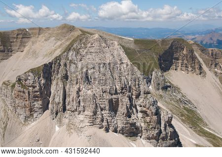 Panoramic View Of The Ridges Of Monte Redentore In The National Park Of Monti Sibillini, Marche, Ita