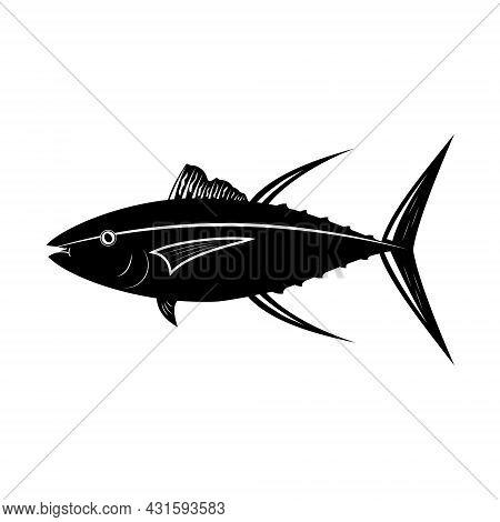 Tuna Fish, Black Stencil Silhouette Vector Illustration Icon.