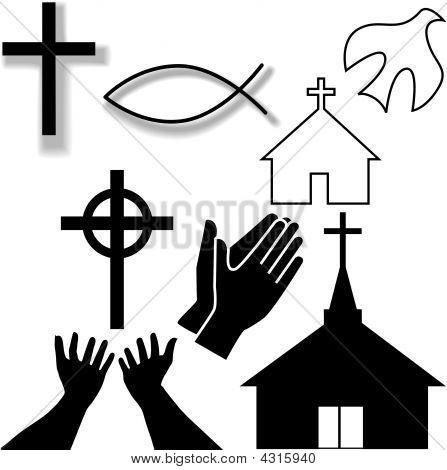 Kerk en andere pictogrammen van Christian symboolset