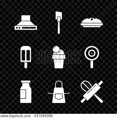 Set Kitchen Extractor Fan, Spatula, Homemade Pie, Bottle With Milk, Apron, Whisk And Rolling Pin, Ic