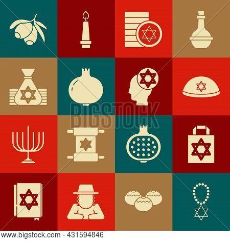 Set Star Of David Necklace On Chain, Shopping Bag With Star David, Jewish Kippah, Coin, Pomegranate,