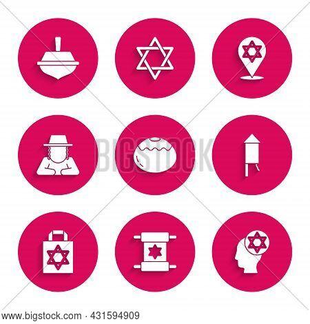 Set Jewish Sweet Bakery, Torah Scroll, Orthodox Jewish Hat, Firework Rocket, Shopping Bag With Star