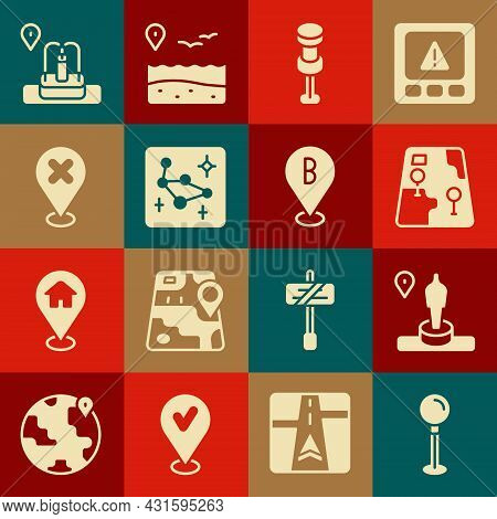 Set Push Pin, Location And Monument, City Map Navigation, Great Bear Constellation, With Cross Mark,
