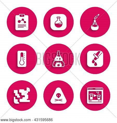 Set Test Tube Flask On Fire, Triangle Warning Toxic, Chemical Online, And, Gaseous, Medical Thermome