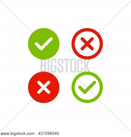 Check Mark Icon Vector. Right And Wrong Symbol Images