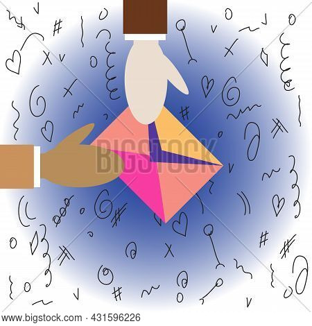 One Person Gives Half-open Envelope To Another. Two Human Different Color Hands. Mail Envelope With