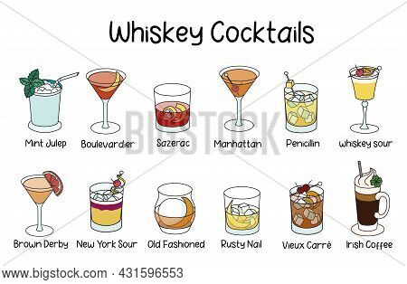 Collection Set Of Classic Whiskey Based Cocktails Manhattan, Whisky Sour, Old Fashioned, Penicillin,