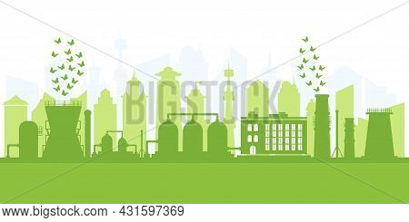 Environmentally Friendly Production. Large Plant With Cleaned Environmental Emissions. Silhouette Of