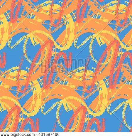 Abstract Seamless Pattern, Red Blue Yellow Chaotic Brush Stroke With Paint. Design For Fabric, Wrapp