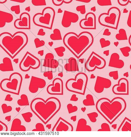 Heart Seamless Pattern. Design For Fabric, Textile Print, Wrapping Paper, Cover, Web, Print, Textile