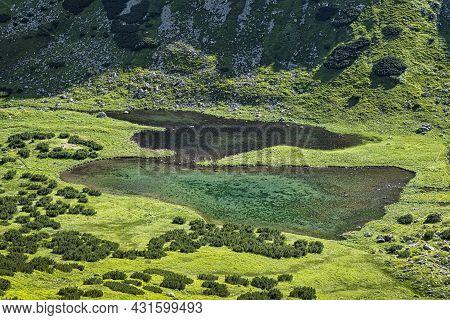 Rackova Valley With Mountain Lakes, Western Tatras Mountains, Slovak Republic. Hiking Theme.