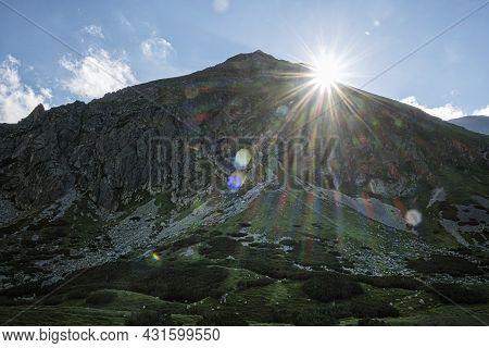 Jakubina Peak With Sun Rays, Western Tatras Mountains, Slovak Republic. Hiking Theme.