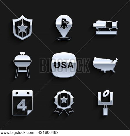Set Usa Independence Day, Medal With Star, American Football Goal Post, Map, Calendar Date July 4, B